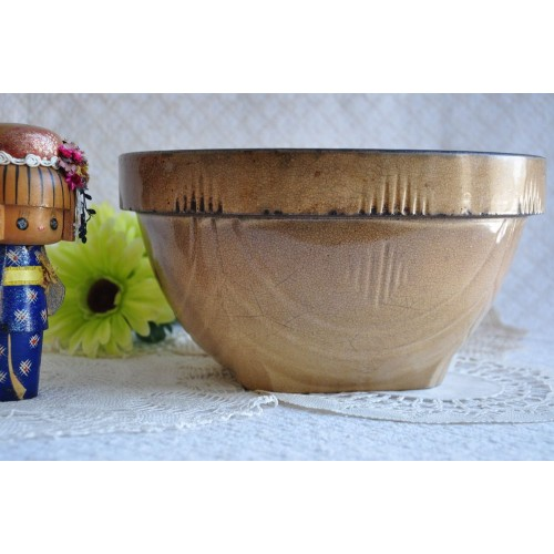 Victorian Mustard Yellow Pottery Mixing Bowl
