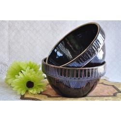 Old Dark Brown Glazed Mixing Bowls