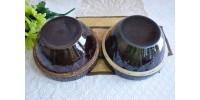 Antiques bols à mélanger en grès à glaçure brune