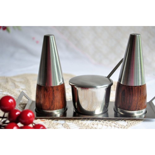 Vintage Danish Stelton 6-Pieces Cruet Set