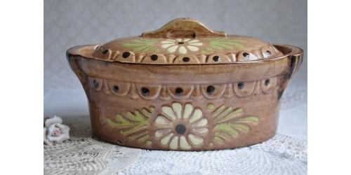 Terrine en grès d'Alsace à décor floral