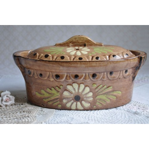 Traditional French Baking Dish with Floral Decor