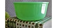 Bol à mélanger en verre couleur jade vintage
