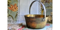 Antique Brass Pot with Wrought Iron Handle