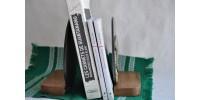 Appuis-livres signés en bronze noir et laiton années 40