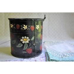 Antique Folk Art Painted Toleware Container