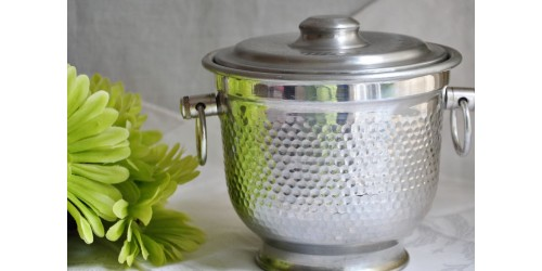 Hammered Aluminum Ice Bucket From Italy