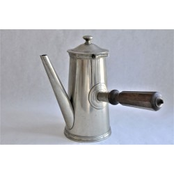 French Pewter Coffee or Chocolat Pot with Wood Handle
