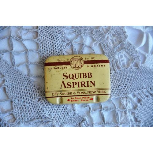 Vintage Squibb Aspirin Tiny Tin Pill Box