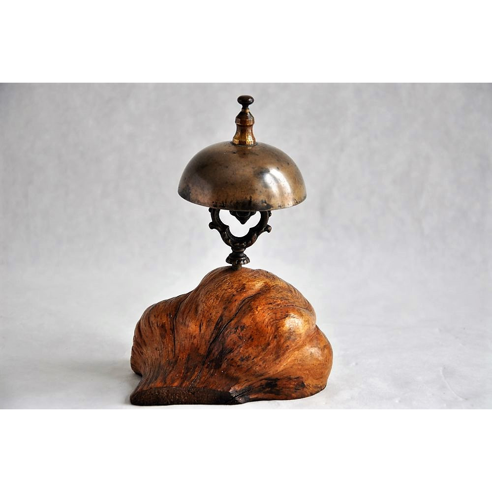 Antique Reception Desk Bell Mounted On Burl Wood