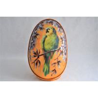 Boîte à œuf de Pâques en soie peinte d'époque victorienne