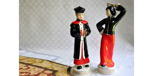 Pair of Retro Figurines in Chinese Costumes