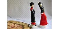 Paire de figurines orientales rétro en porcelaine
