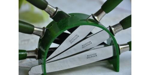 Support à couteaux à fruits Art déco en résine