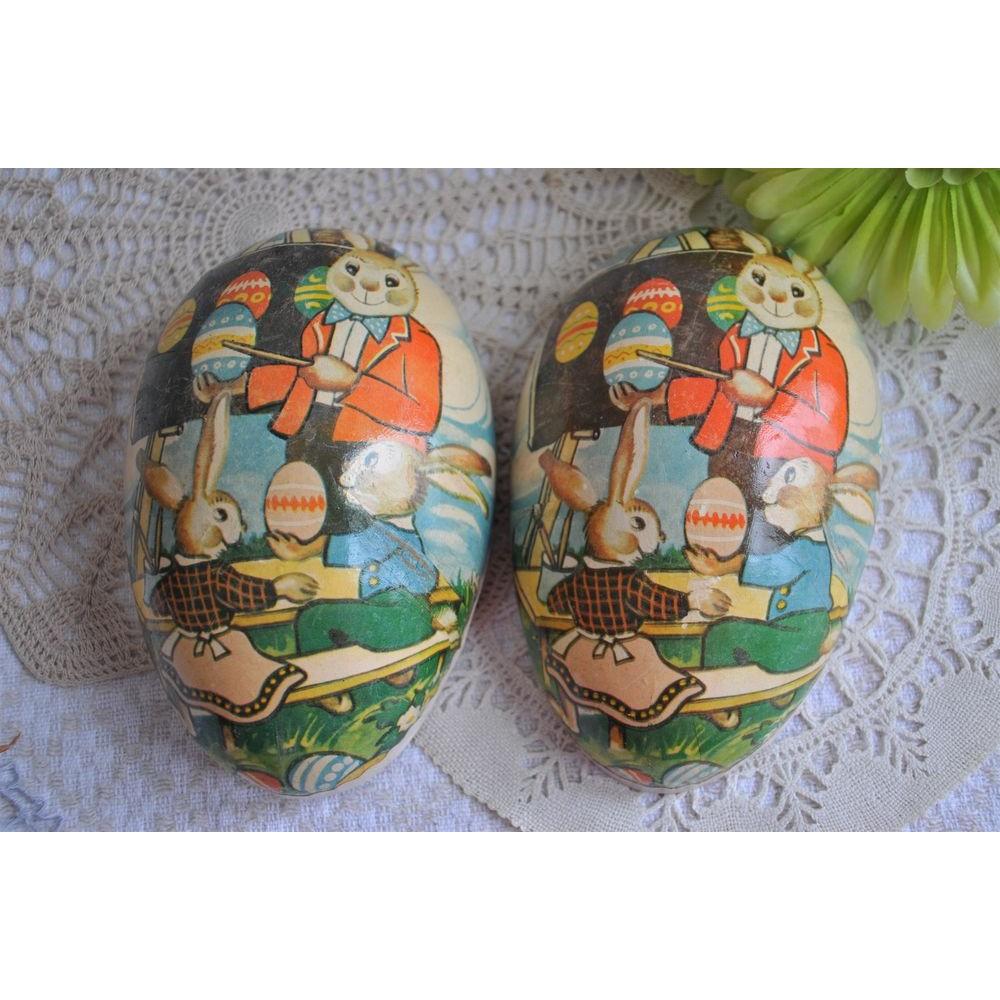 Boite Oeuf De Paques Vintage Motif Lapins Papier Mache Chocolat Bonbons