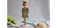 Porte-chapeau d'enfant en bois peint Art Déco