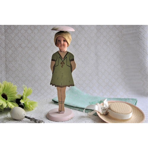 Vintage Figural Wood Hat Stand With Doll's Head