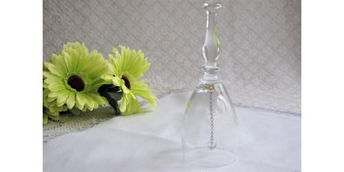Clochette de table en cristal gravé de chardons