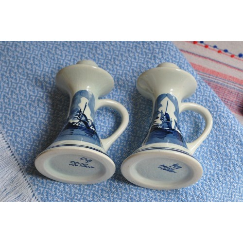Blue Delfts Hand-Painted Pair of Candlesticks