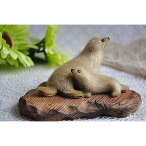 Inuit Stuffed Seal Skin Animals On Wood Plaque