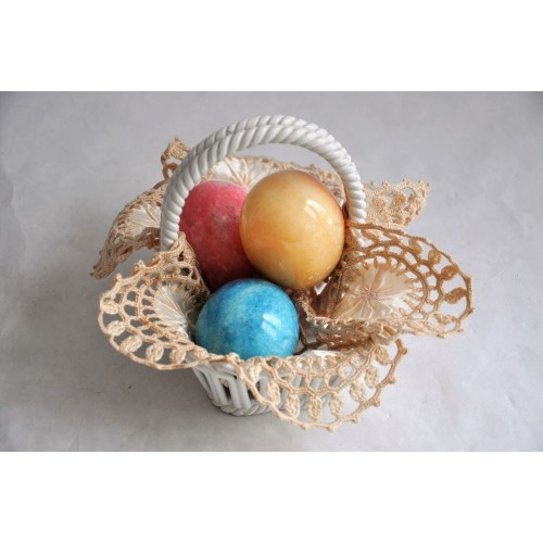 Decorative Capodimonte Basket With Easter Eggs