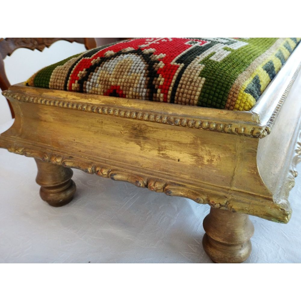 Long Antique Victorian Low Bench Window Seat Footstool