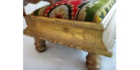 Long tabouret bas victorien antique avec garniture d'origine