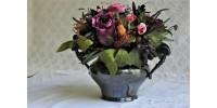 Petit vase 19e en argent avec bouquet floral
