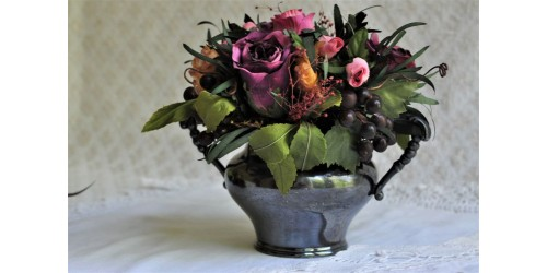 Silky Floral Bouquet in Silverplate Victorian Vase