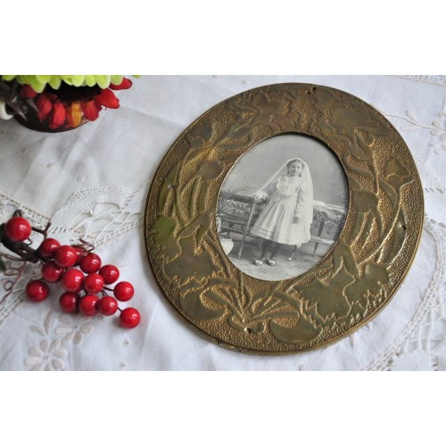 Brass Oval Frame with Repoussé Decoration