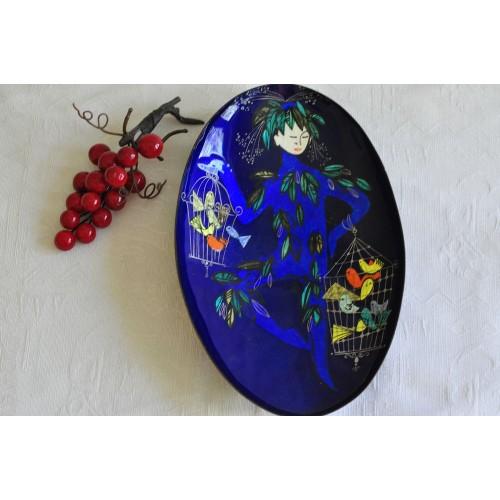 Deep Blue Enameled Steinbock Decorative Dish