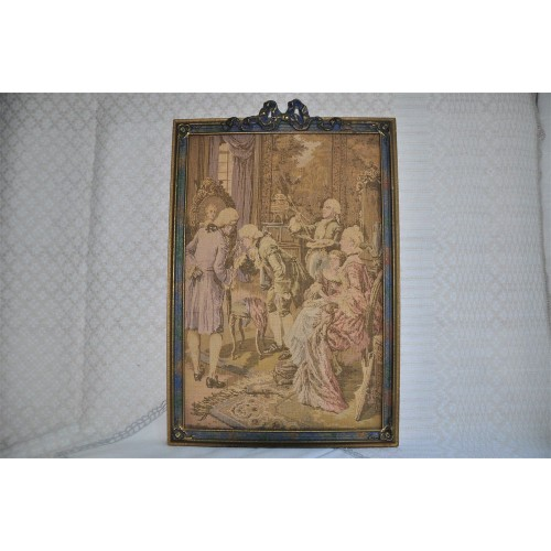 Vintage French Woven Tapestry Gallant Scene