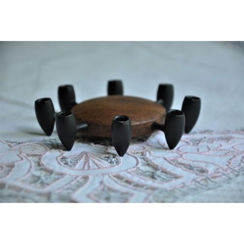 Bougeoir danois design en fonte noire et teck