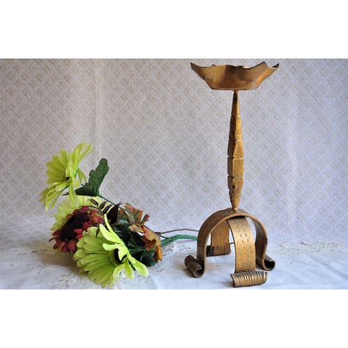 Gilded Iron Hand Forged Art Metal Candlestick
