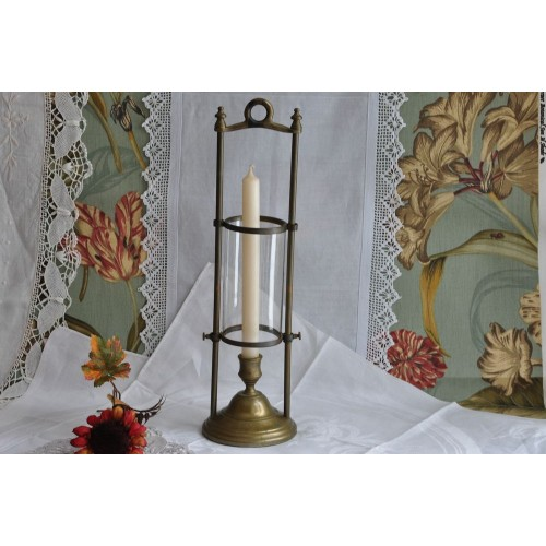 Brass with Glass Cylinder Hurricane Lamp