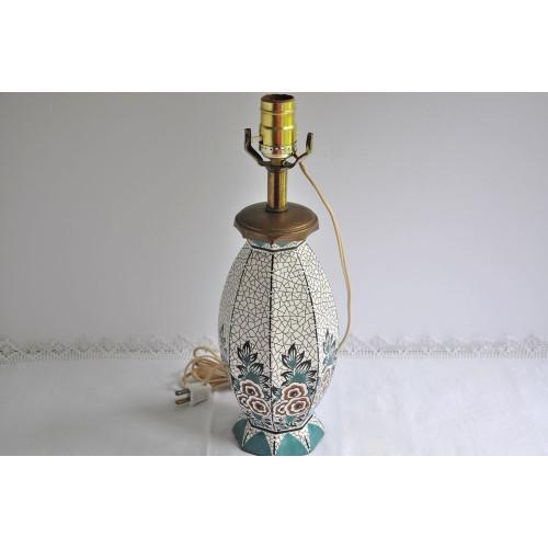 Lampe époque Art déco en céramique à motif floral