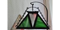 Lampe Mission à abat-jour en verre vitrail