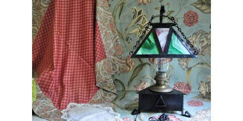Antique Mission Oil Lamp with Slag Glass Shade