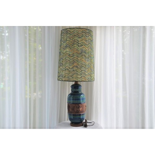 Tall Bitossi Rimini Blue Pottery Table Lamp