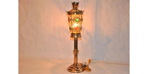 Astonishing Solid Brass Jeweled Table Lamp