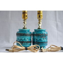 Pair Ceramic Blue Night Stand Lamps Mid-Century Style