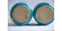 Paire de lampes de chevet vintage en céramique bleue et noire