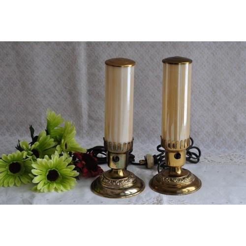 Art Deco Era Luster Finish Cylindrical Lamps