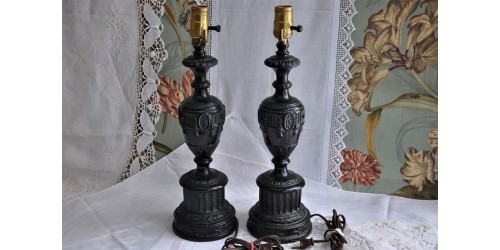 Neo-Classical Spelter Urn Shape Table Lamps