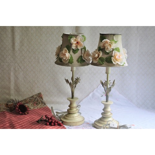 Pair of Shabby Chic Toleware Nightsand Lamps