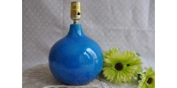 Pied de lampe de table bleu Rimini fini craquelé