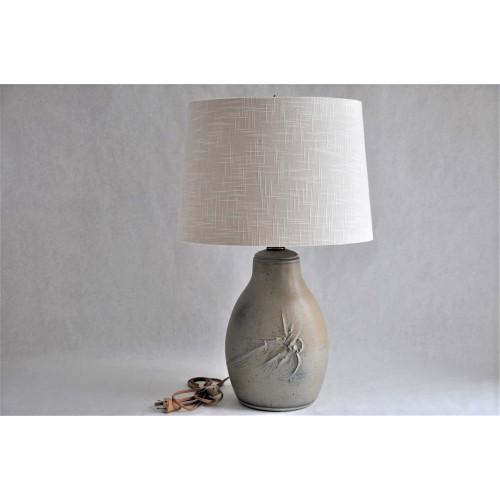 Lampe bleu et gris vintage en grès émaillé, signée
