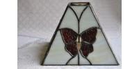 Abat-jour en verre vitrail motif de papillons