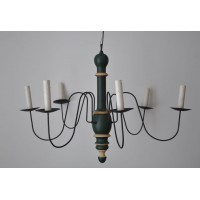 6 Arms Turned Wood Electrified Chandelier