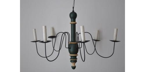 Lustre en bois tourné peint à 6 branches électrifié